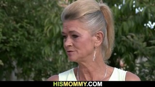 Old mom pleases her son's gf with dildo Teasing homemade