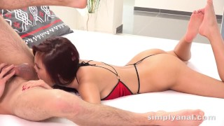 to rim and suck cock before it explodes on her Czech tight