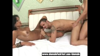 One Shemale a hot guy and a Busty Latina Shemale Fuck Fest
