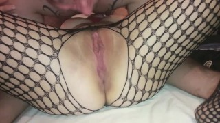 Preview 3 of pussy licking until she squirts and moans in fishnets