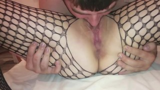 pussy licking until she squirts and moans in fishnets
