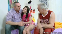 Sexy young girl's pussy eaten out, fucked by an old man and fucked by two m