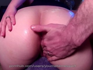 Husband has quick cum on wifes sexy ass