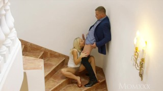 MOM Lovely legs blonde MILF licks and sucks balls before romantic fuck Skinny teamskeet
