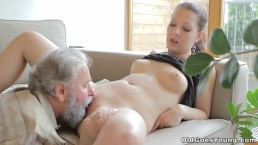 Beautiful girl gets fucked by a horny old man, her boyfriend watches