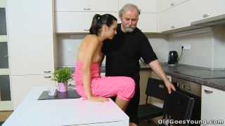 Horny girl with small tits fucked by old man when her boyfriend went out