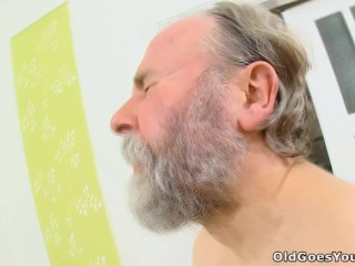 Guy Grope Breast Fucking, Naughty young girl with pigtails cheats her boyfriend with an old man