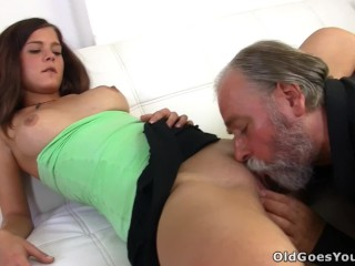 Russian girl having sex with an old bearded man her boyfriends uncle