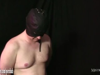 Hot mistress fucks her wet pussy with steel cock then toys slaves tight ass