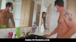 FamilyStrokes - Mom Showered While I fucked My Step-Dad  step dad step daughter big tits big cock mom blonde bathroom familystrokes cougar shaved mother facialize facial big boobs step daddy cum shot blair williams step father shower