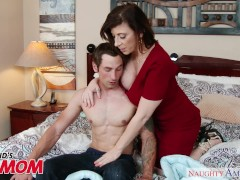 Busty MILF Sara Jay seduces, sucks and fucks her son's bud -Naughty America