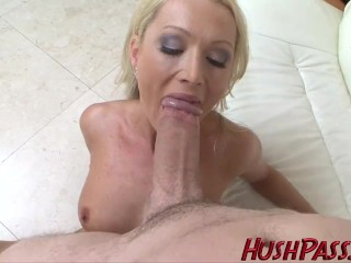 Jizz Play Tube Sexy Blonde Milf struggles with Biggest White Cock