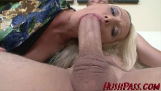 Preview 5 of Sexy Blonde Milf struggles with Biggest White Cock!