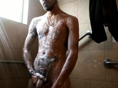 Playing in the shower'