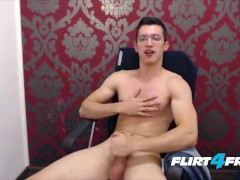Twink With Glasses Jerks Off His Big Uncut Cock