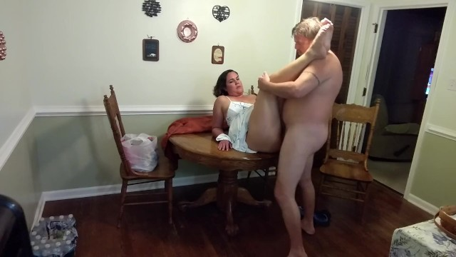 Comic strip about dining Sexy milf in a sundress gets fucked and creampied on the dining table...