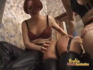 Gorgeous floozy receives a proper spanking from two stunning sluts