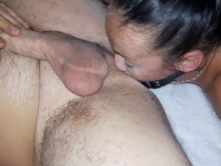HUSBAND FUCKED UP THE ASS HARD WITH A FACE DILDO!!!