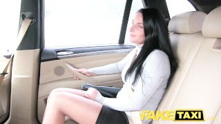 Stockings legs lace long in faketaxi sexy cock outside