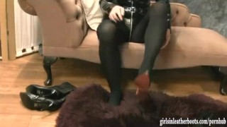 Hot busty kinky babes put on sexy leather boots then tease and finger pussy