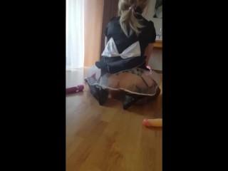 Tgurl maid ride a dildo