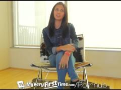MyVeryFirstTime – Nervous Jade Jantzen has her first DP on camera