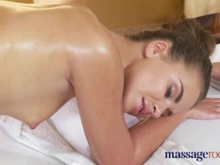 Massage Rooms Young lesbian has tight pussy fucked before intense orgasm