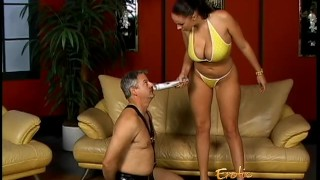 Lusty stunner Gianna Michaels really enjoys spanking a latex-clad stallion  big tits spanking dominatrix babe bdsm femdom pornstar toys hardcore brunette latex bondage whipping gianna michaels shaved pussy