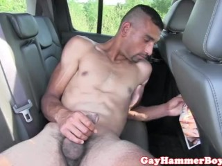 Euro amateur jerking dick on backseat