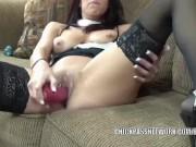 Buxom MILF Lavender Rayne stuffs her twat with a big toy