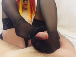 Sexy wife gives nylon stockings footjob