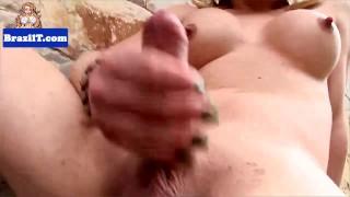 Sensual brazilian tranny stroking her dick porno