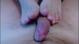 French Pedicure Footjob With Cum On Feet