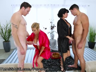 Phat Moms Nude FantasyMassage Hot Cougars take on 2 Young Guys