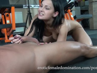 Scorpio pornstars dark haired femdom gives her slave a blowjob after ballbustin kink bd