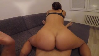 Hot girlfriend enjoys teasing and riding hard !