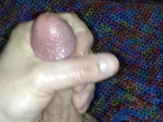 Using a lot of precum for lube to stroke my cock!