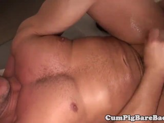 Muscle DILF cocksucked before barebacking ass