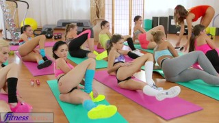 Preview 4 of FitnessRooms Lesbian threesome for hot and sweaty gym babes