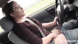 Horny Lou Masturbating In The Car