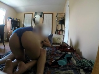 Young Slut Bent over Gagging on Dick (SPY CAM)