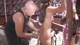 Two whippings-one squirt-two public MILF orgasms at kinky Texas swing orgy