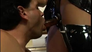 Latex-clad raven-haired harlot bangs her extremely horny repairman in the k  babe strapon bdsm dildo femdom sex-toys female-friendly hardcore kink brunette latex anal jerking-off boots licking adult toys