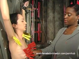 Slutty ebony harlot joins in on some kinky BDSM action