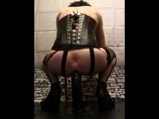Sissy - Goths riding dildo and masturbation