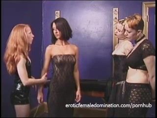Three naughty sluts have their way with a ravishing raven-haired sex bomb