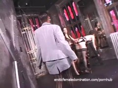Lusty playgirls like fooling around on a BDSM porno movie set