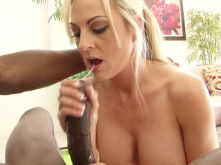 Adorable big tits blonde MILF rides her black personal trainers dick
