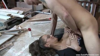 Dutch MILF With Glasses Great Sex Pussy shaved
