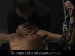 Bondage slave rough fucked by her master eats his dick